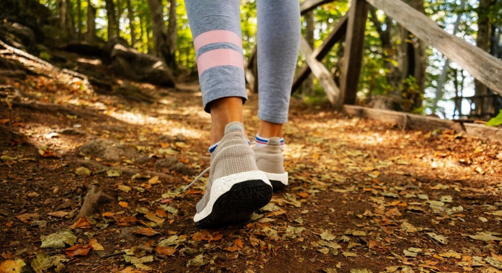 Hiking in the woods with hiking leggings
