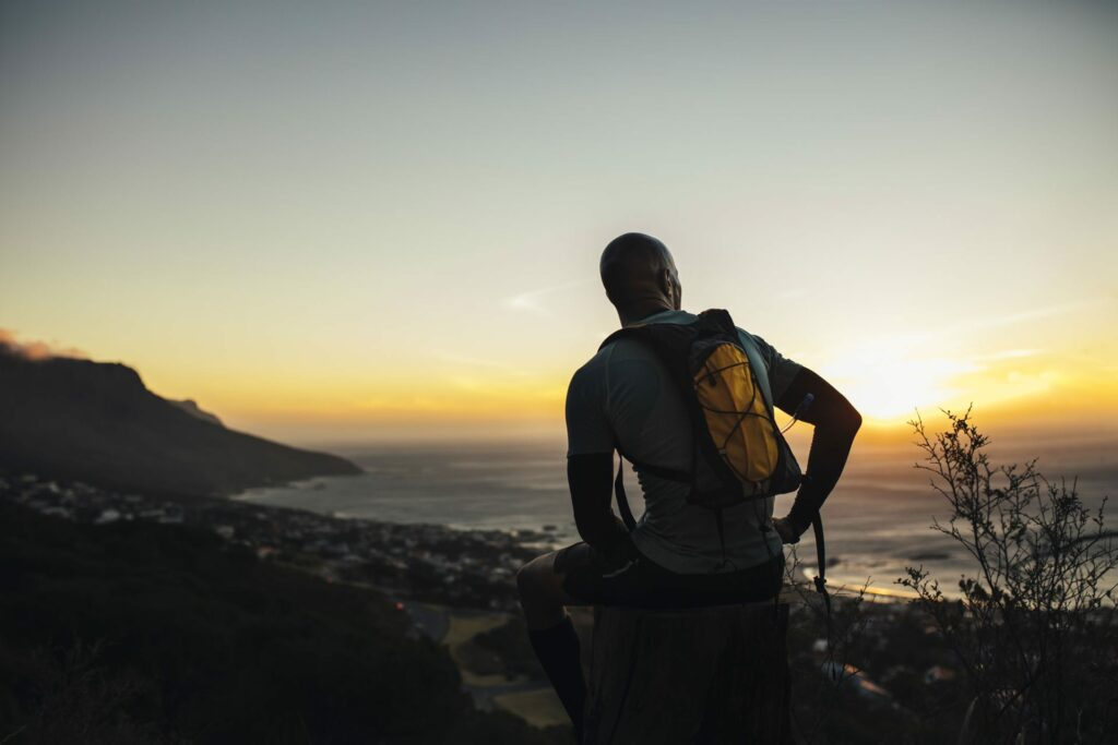 Watching the sunset in a comfortable pair of hiking shorts