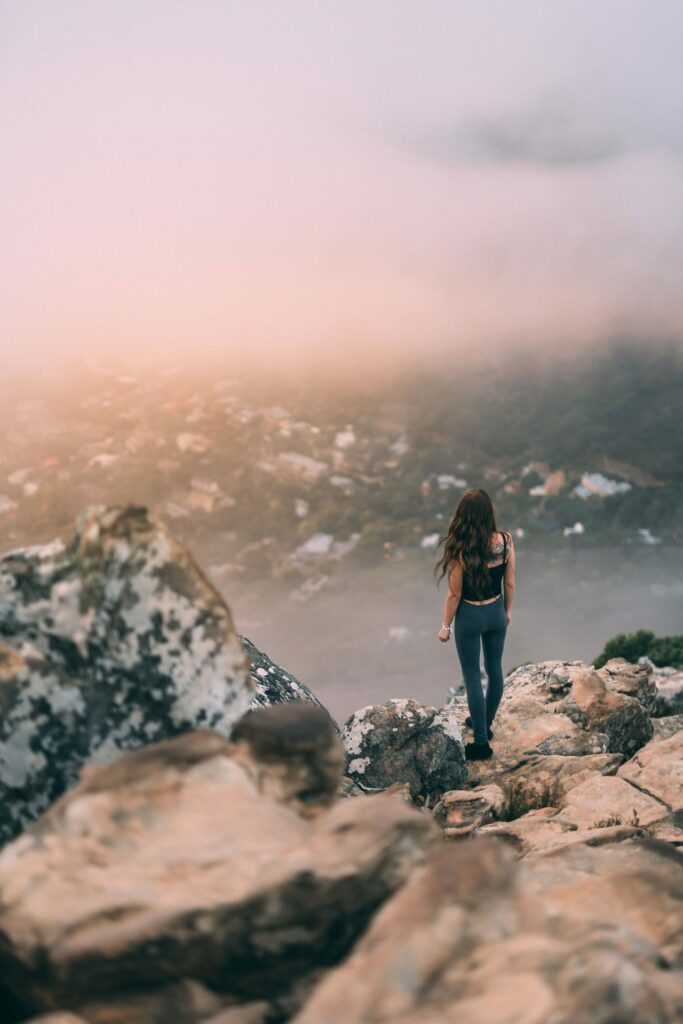 Enjoying the view during a strenuous hike in Cape Town