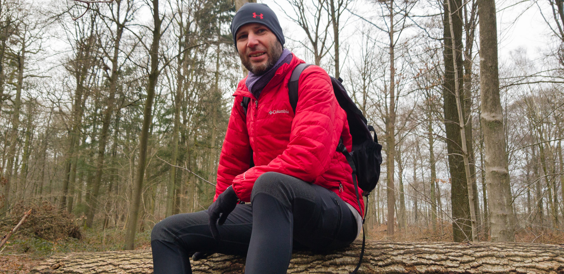 Kris wearing the Fjallraven Hiking tights with reinforced knees and rear